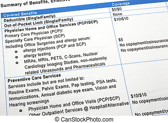 Close-up photograph of a summary of healthcare insurance benefits