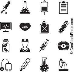 Healthcare Black White Icons Set