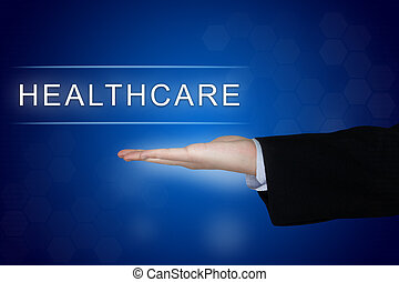 healthcare button on blue background
