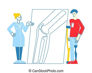 healthcare., carácter, vector, pierna, hospital, orthopedy, clínica, lineal, posición, ilustración, personas minusválidas, muletas, doctor, inválido, comunicarse, prótesis, hombre, orthopedist, visitar, o
