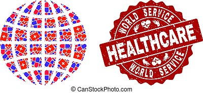 Healthcare Collage of Mosaic Globe and Textured Stamp