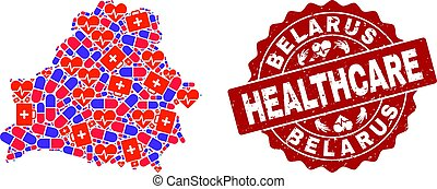 Healthcare Collage of Mosaic Map of Belarus and Textured Stamp