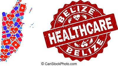 Healthcare Collage of Mosaic Map of Belize and Textured Seal Stamp
