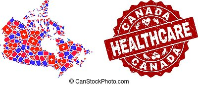 Healthcare Collage of Mosaic Map of Canada and Textured Seal Stamp