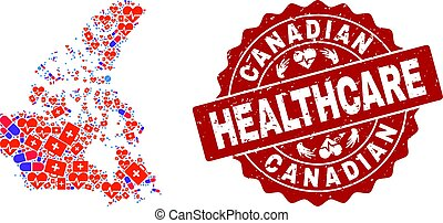 Healthcare Collage of Mosaic Map of Canada and Textured Stamp