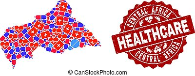Healthcare Collage of Mosaic Map of Central African Republic and Textured Seal Stamp