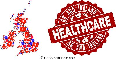 Healthcare Collage of Mosaic Map of Great Britain and Ireland and Scratched Seal Stamp