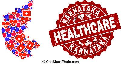 Healthcare Collage of Mosaic Map of Karnataka State and Scratched Seal Stamp