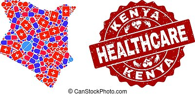 Healthcare Collage of Mosaic Map of Kenya and Textured Stamp