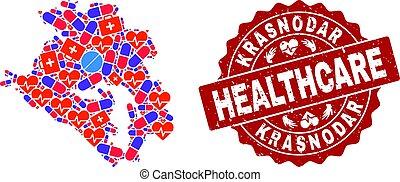 Healthcare Collage of Mosaic Map of Krasnodarskiy Kray and Scratched Stamp