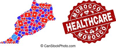Healthcare Collage of Mosaic Map of Morocco and Distress Seal