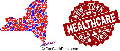 Healthcare Collage of Mosaic Map of New York State and Distress Seal