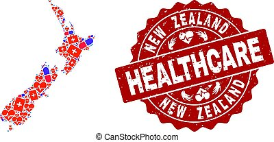 Healthcare Collage of Mosaic Map of New Zealand and Grunge Seal Stamp