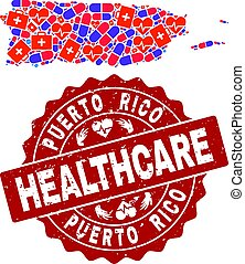 Healthcare Collage of Mosaic Map of Puerto Rico and Scratched Stamp