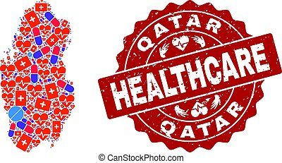 Healthcare Collage of Mosaic Map of Qatar and Grunge Seal