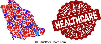 Healthcare Collage of Mosaic Map of Saudi Arabia and Distress Seal
