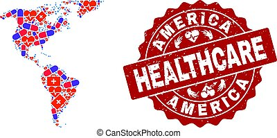 Healthcare Collage of Mosaic Map of South and North America and Distress Seal
