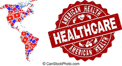 Healthcare Collage of Mosaic Map of South and North America and Textured Stamp
