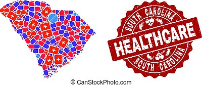 Healthcare Collage of Mosaic Map of South Carolina State and Grunge Seal