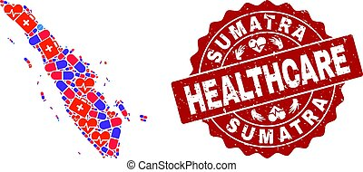 Healthcare Collage of Mosaic Map of Sumatra Island and Grunge Seal Stamp