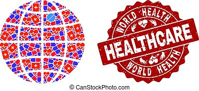 Healthcare Composition of Mosaic Globe and Scratched Seal Stamp