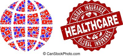 Healthcare Composition of Mosaic Globe and Scratched Stamp