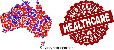 Healthcare Composition of Mosaic Map of Australia and Scratched Seal