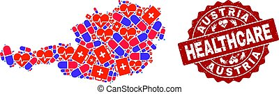Healthcare Composition of Mosaic Map of Austria and Distress Stamp