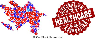 Healthcare Composition of Mosaic Map of Azerbaijan and Distress Seal Stamp