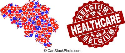 Healthcare Composition of Mosaic Map of Belgium and Distress Seal Stamp