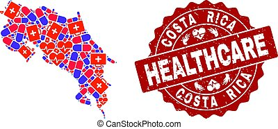 Healthcare Composition of Mosaic Map of Costa Rica and Textured Seal Stamp