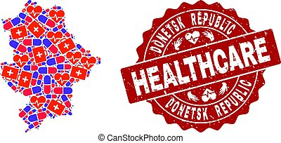 Healthcare Composition of Mosaic Map of Donetsk Republic and Distress Seal Stamp