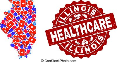 Healthcare Composition of Mosaic Map of Illinois State and Scratched Seal