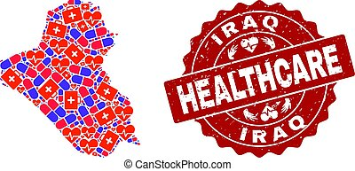 Healthcare Composition of Mosaic Map of Iraq and Grunge Seal Stamp
