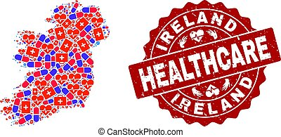 Healthcare Composition of Mosaic Map of Ireland Island and Grunge Seal