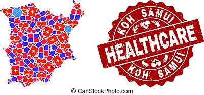 Healthcare Composition of Mosaic Map of Koh Samui and Scratched Stamp