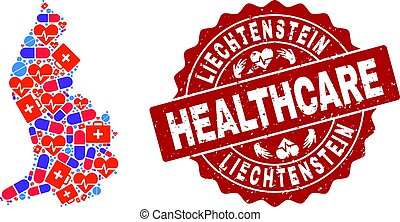 Healthcare Composition of Mosaic Map of Liechtenstein and Scratched Seal Stamp