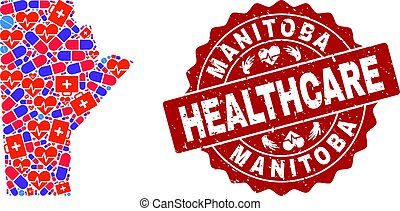 Healthcare Composition of Mosaic Map of Manitoba Province and Grunge Seal