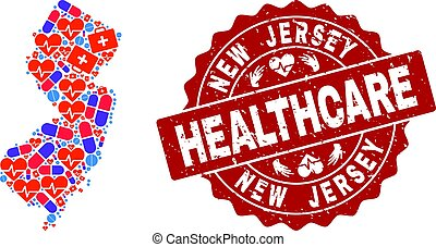 Healthcare Composition of Mosaic Map of New Jersey State and Scratched Seal