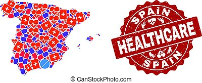 Healthcare Composition of Mosaic Map of Spain and Grunge Seal