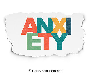 Healthcare concept: Anxiety on Torn Paper background