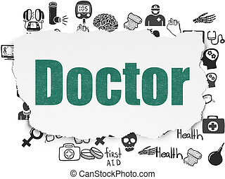 Healthcare concept: Doctor on Torn Paper background