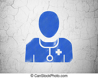 Healthcare concept: Doctor on wall background