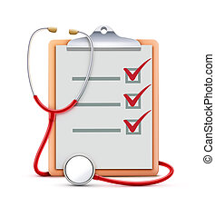 illustration of healthcare concept with cool check list on clipboard and red stethoscope