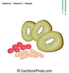 Kiwi Fruits with Vitamin C, K and Minerals