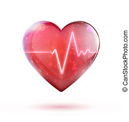 Healthcare concept - illustration of red heart shape with...