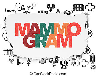 Healthcare concept: Mammogram on Torn Paper background -...