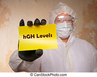 Healthcare concept meaning hGH Levels Human Growth Hormone with sign on the page.