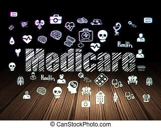 Healthcare concept: Medicare in grunge dark room