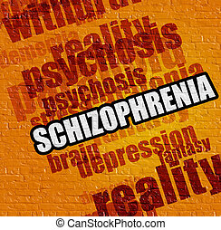Healthcare concept: Schizophrenia on Yellow Wall .
